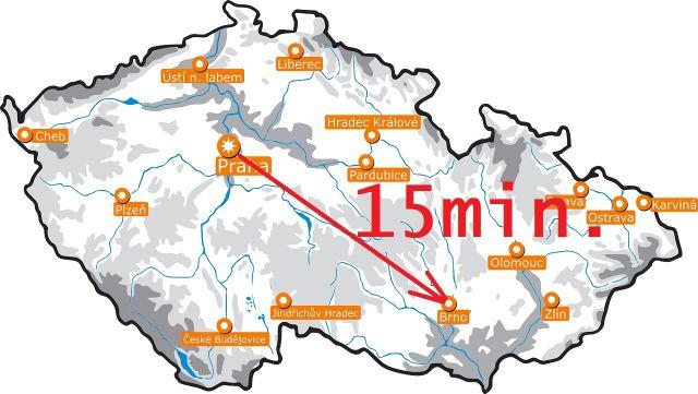 Z Prahy do Brna za 15 minut